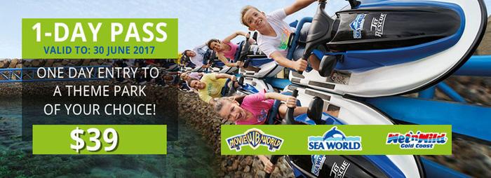 บัตร Themeparks แบบ 1 วัน เลือกเข้าสวนสนุกที่ชอบได้ 1 ที่, ลด 50%